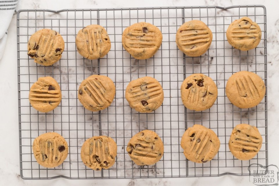 Setting peanut butter chocolate chip cookies on a wire rack to cool