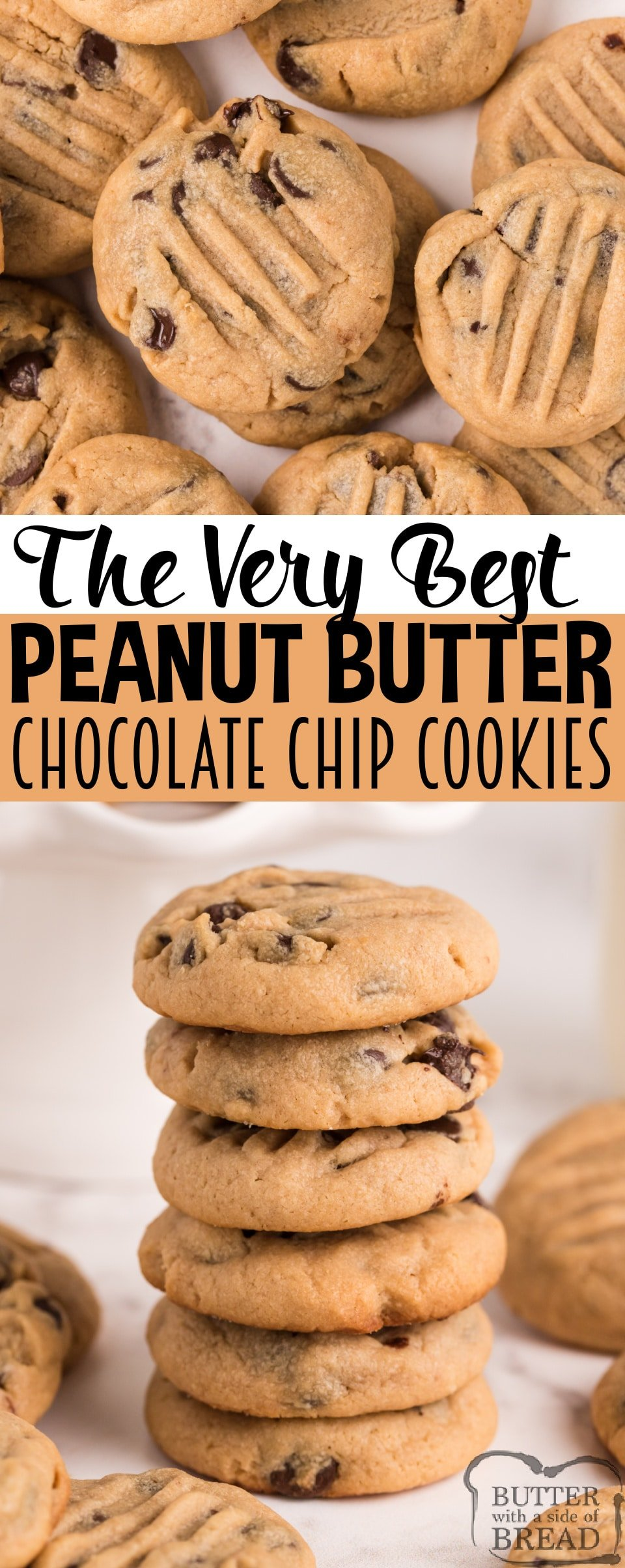 Peanut Butter Chocolate Chip Cookies are soft, chewy, and they turn out perfect every time! Start with an amazing peanut butter cookie recipe and add chocolate chips to take these cookies to the next level!