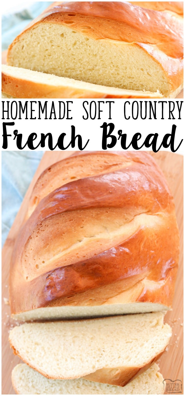 Country French Bread recipemade with simple ingredients & detailed instructions showinghow to make bread! Done in just over an hour and is a showstopper!