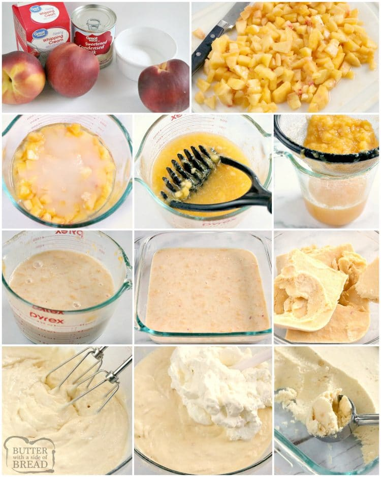 Step by step instructions on how to make homemade peach ice cream