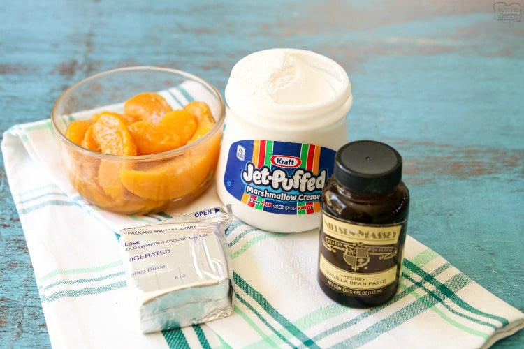 ingredients needed for peaches and cream fruit dip