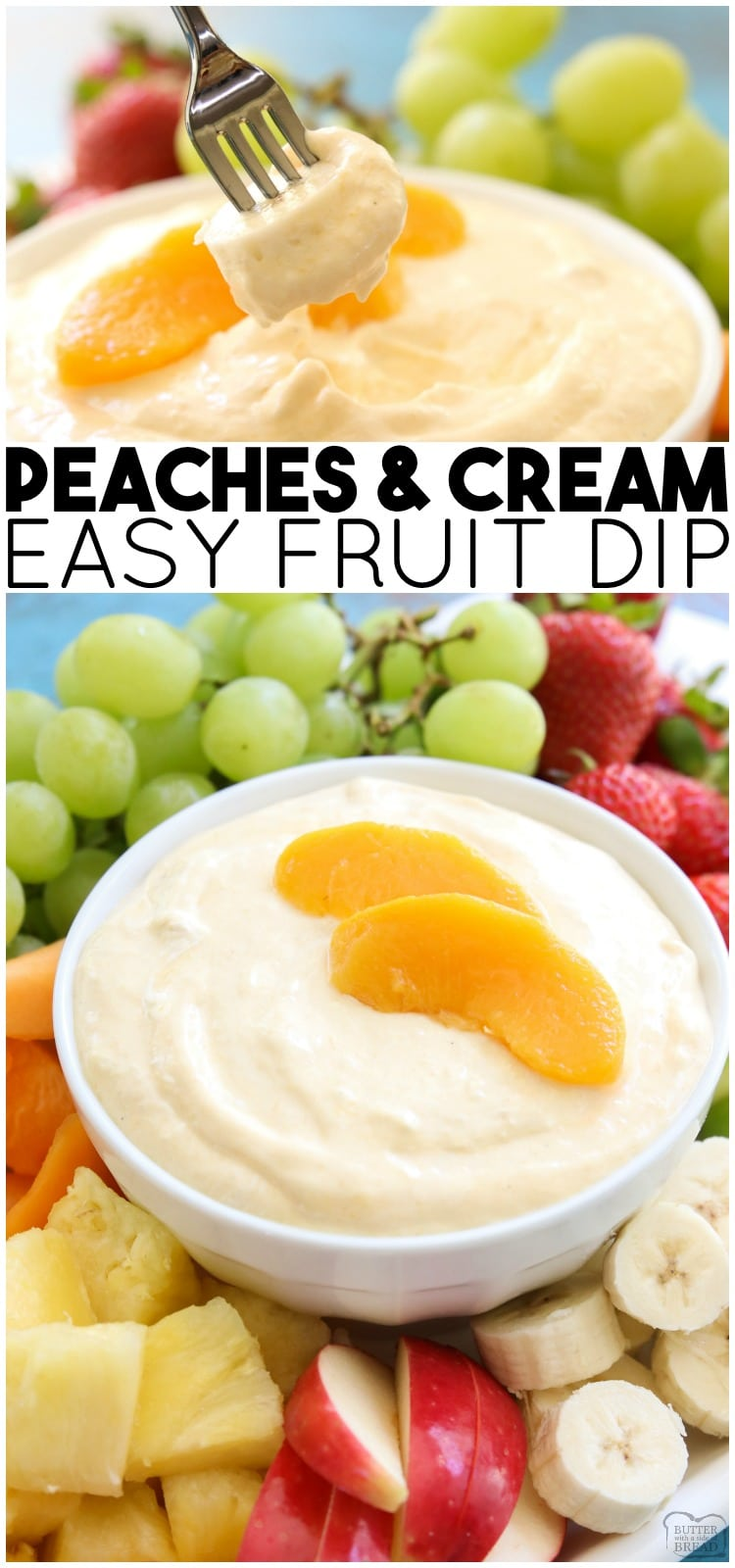 Peaches and Cream Fruit Dip is a sweet cream cheese fruit dip perfect for any occasion! This 5 ingredient peaches and creamrecipe is easy, delicious, and perfect served with fresh fruit.