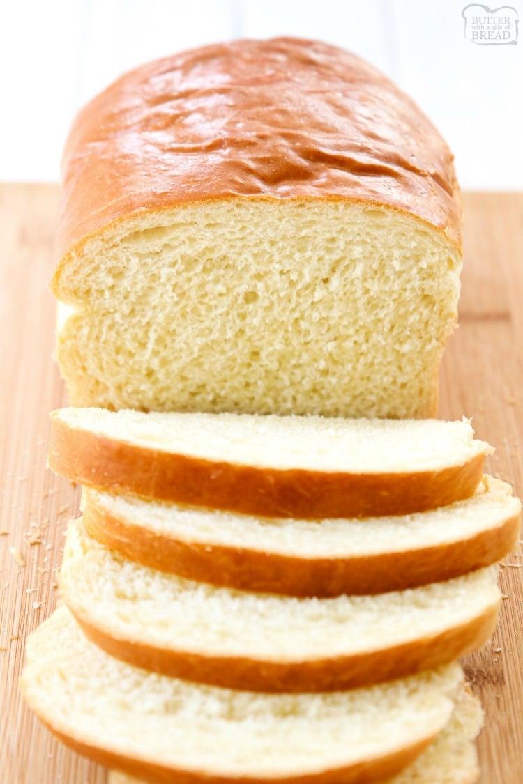 white sandwich bread loaf sliced