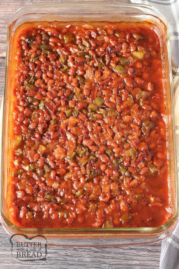 baked beans in a baking dish