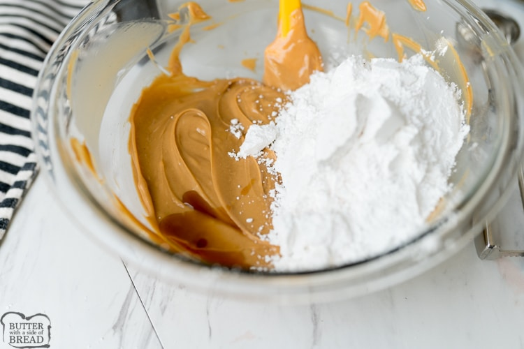 butter, peanut butter and powdered sugar