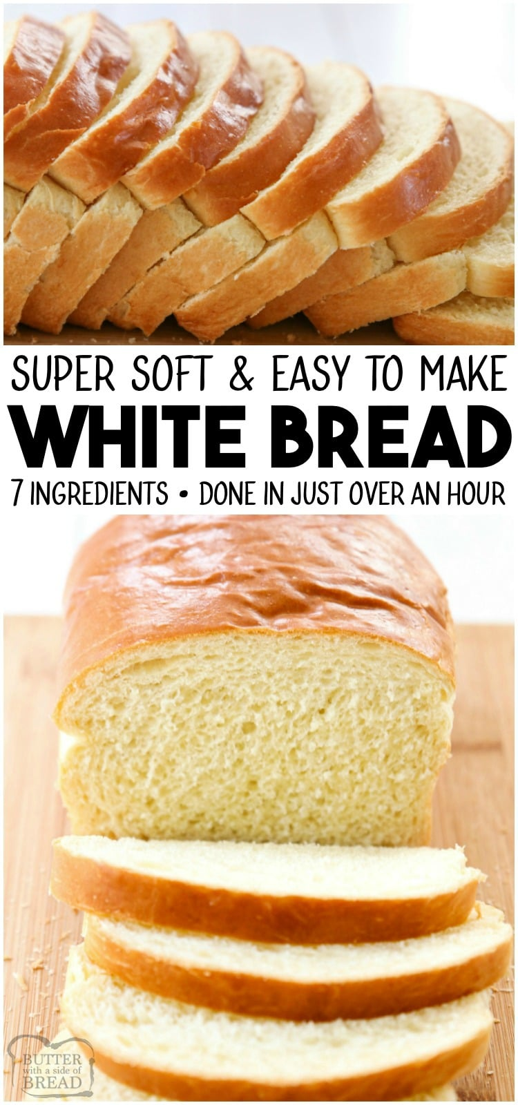 White Bread recipe is made with basic ingredients & detailed instructions showing how to make bread! Done in just over an hour this recipeis one of the best soft white sandwich bread recipes.