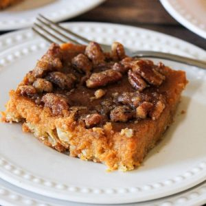pumpkin pie bars topped with pecans