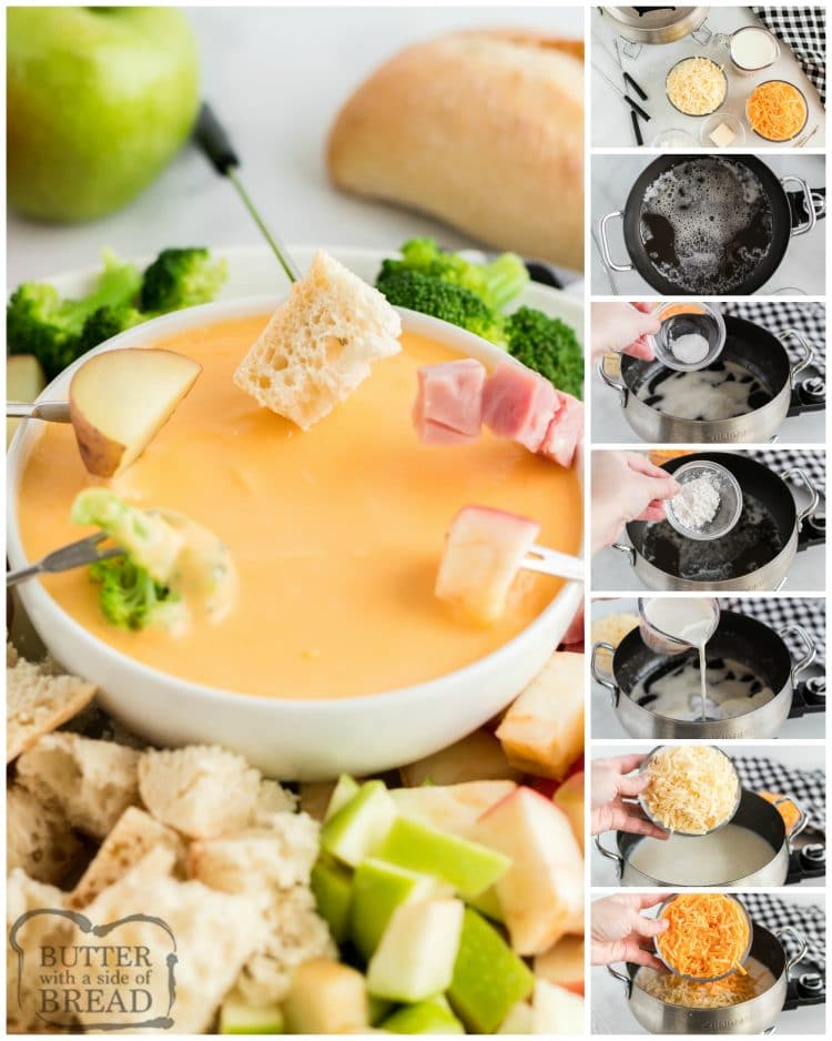 Step by step instructions on how to make cheese fondue