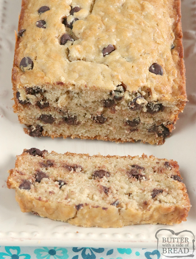 Loaf of oatmeal chocolate chip bread