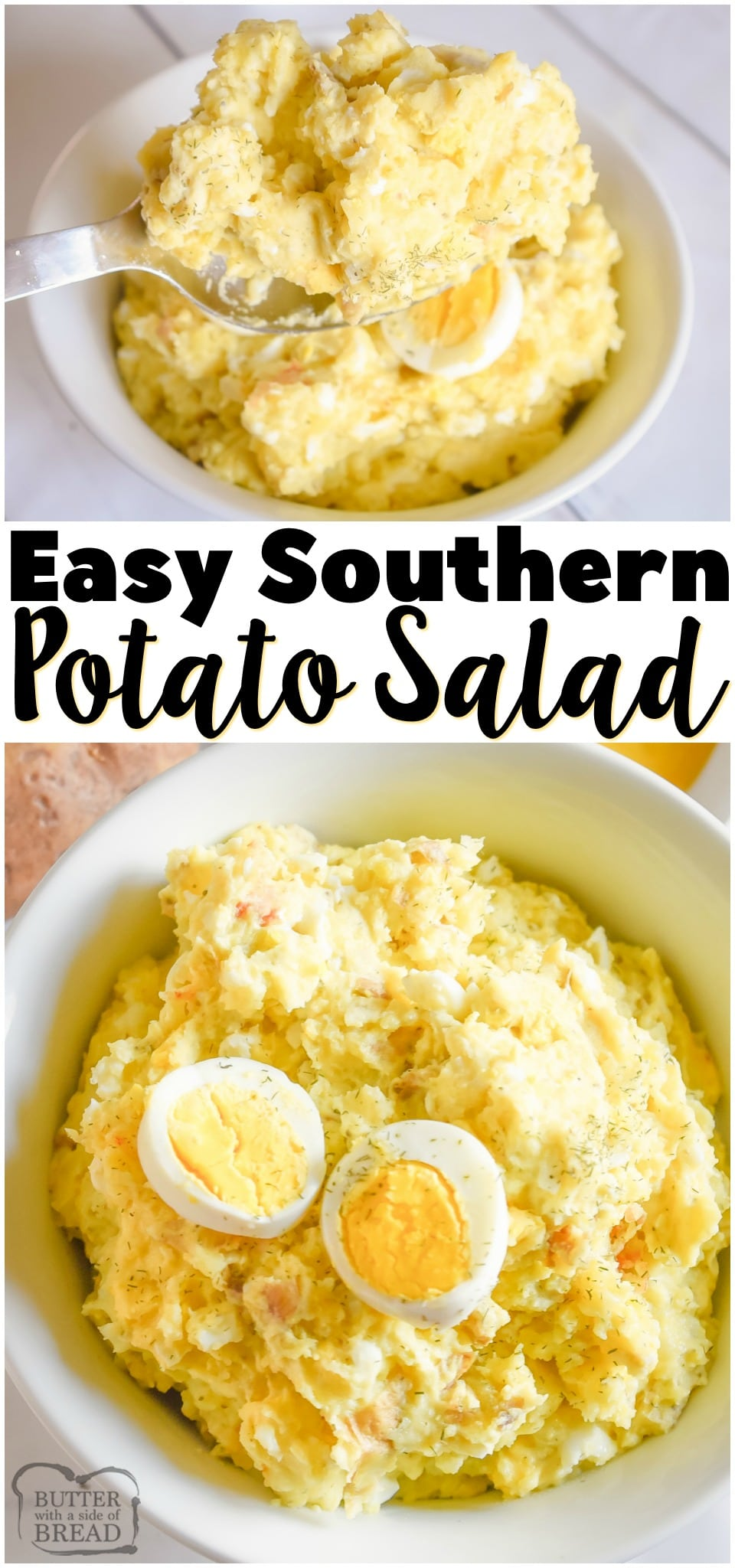 Southern Potato Salad recipeperfect for summer bbq's and get-togethers! Easy potato salad made with Yukon gold potatoes, hard boiled eggs and a simple tangy dressing.#salad #potatoes #potatosalad #southern #recipe #bbq #summer from BUTTER WITH A SIDE OF BREAD