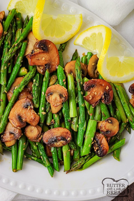 Sesame Glazed Mushrooms and Asparagus recipe