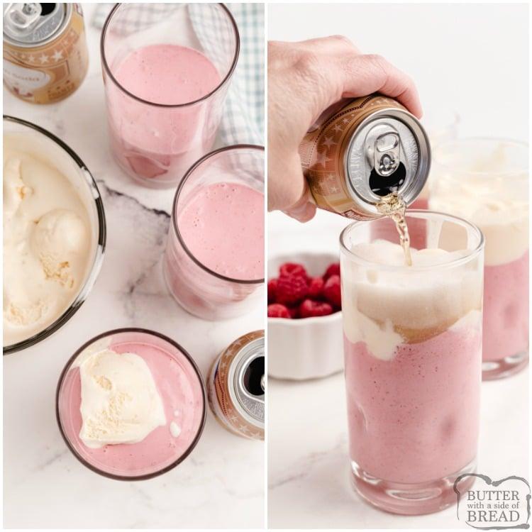 Adding cream soda to raspberry milkshakes