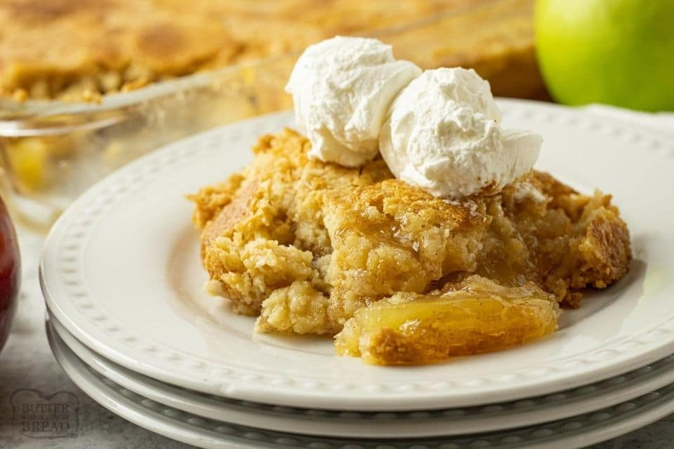 Easy Apple Dump Cake recipe with just 4 simple pantry ingredients! Cake mix & apple pie filling transform into a delicious apple dessert perfect for any occasion.