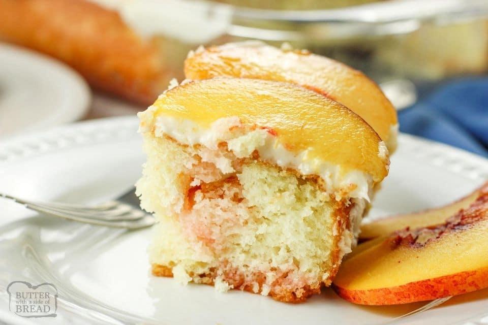 slice of peach cake