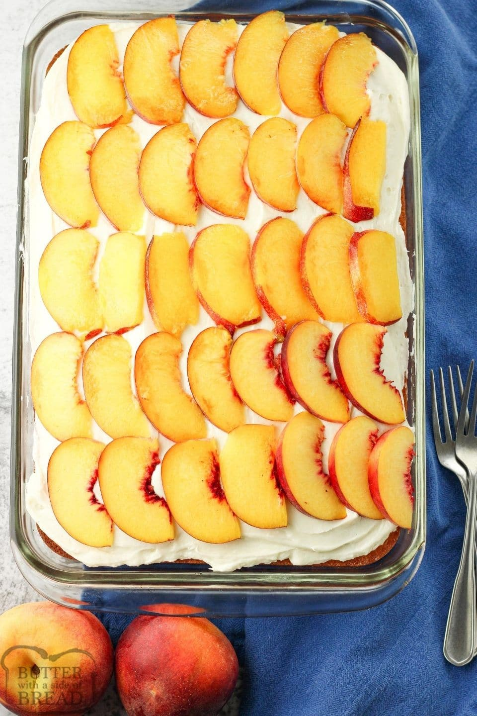 peach cake covered with sliced peaches