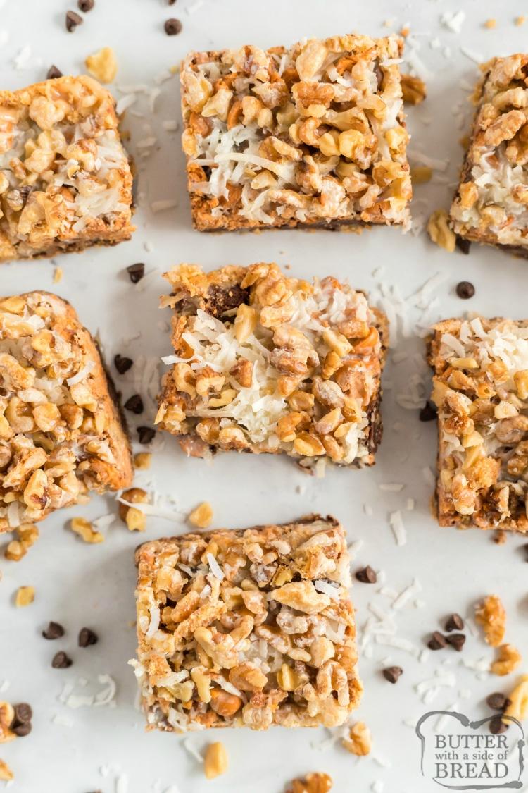 Magic cookie bars, sliced