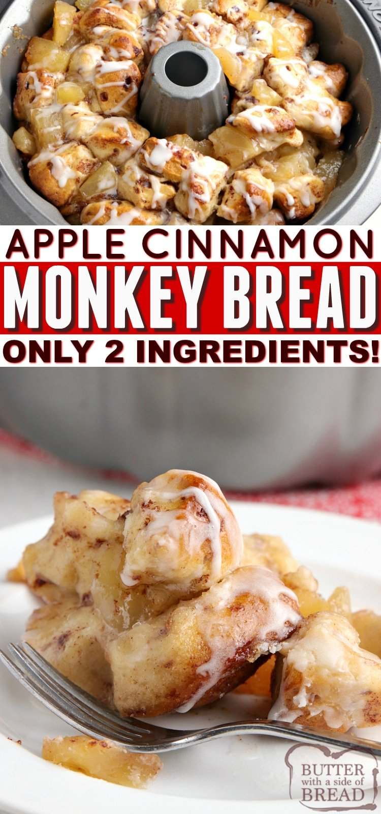 Apple Cinnamon Monkey Bread made with apple pie filling and canned cinnamon rolls. Only two ingredients for delicious cinnamon rolls with lots of apple flavor!