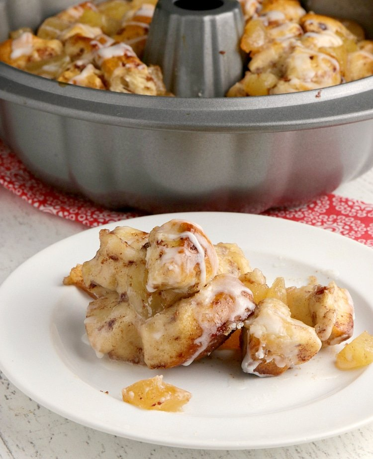 Apple Cinnamon Monkey Bread made with apple pie filling and pre-made cinnamon rolls. Only two ingredients for delicious cinnamon rolls with lots of apple flavor!