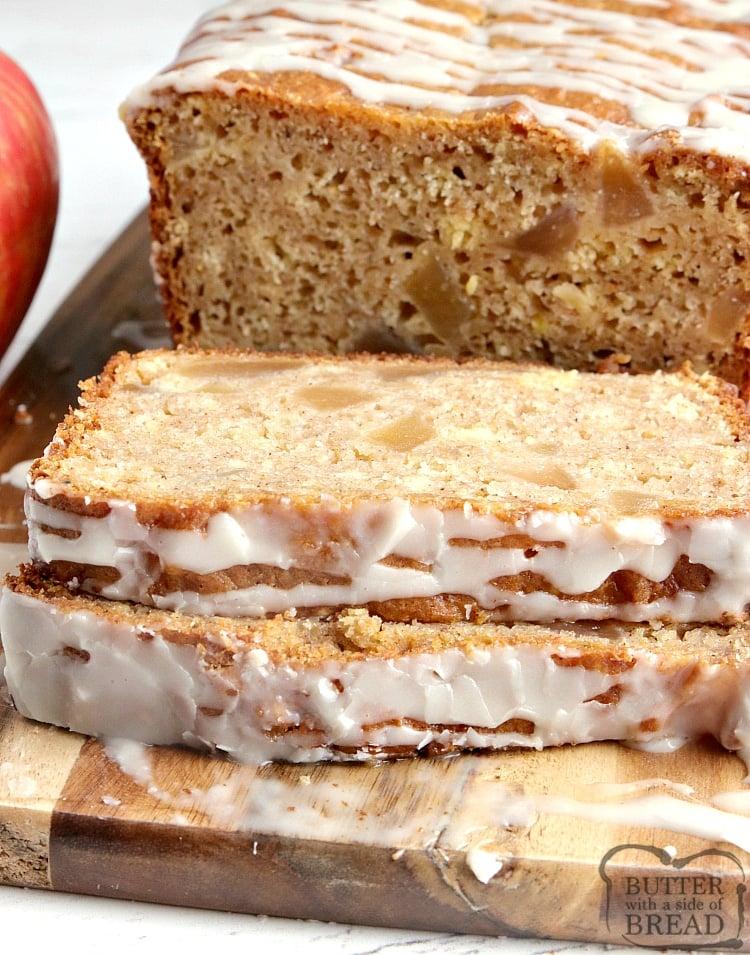 Slices of apple pie quick bread