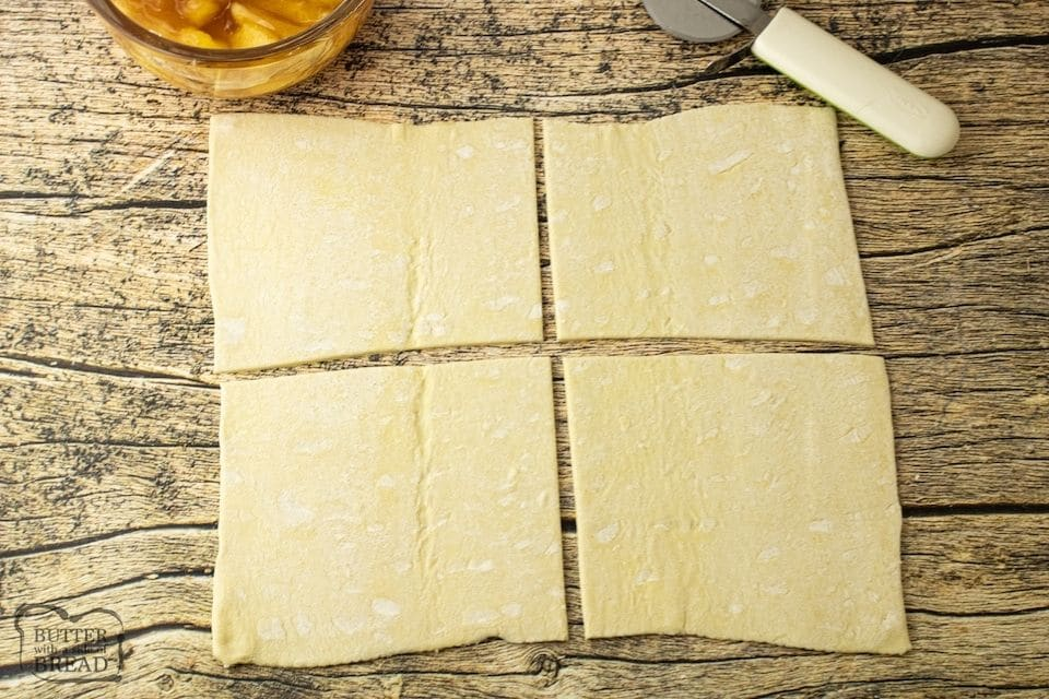 puff pastry cut into 4 pieces
