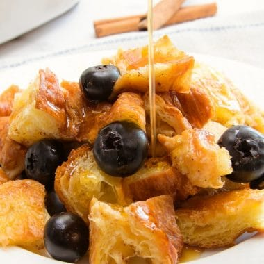 Easy Blueberry Croissant French Toast Casserole recipe