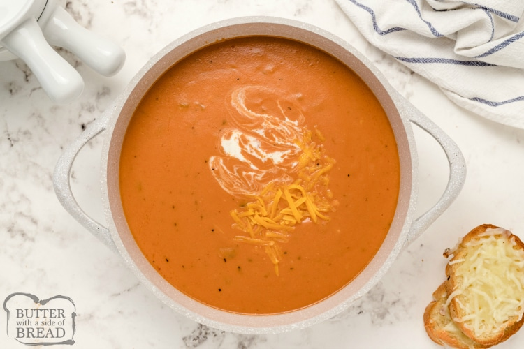 Tomato soup with melted cheese