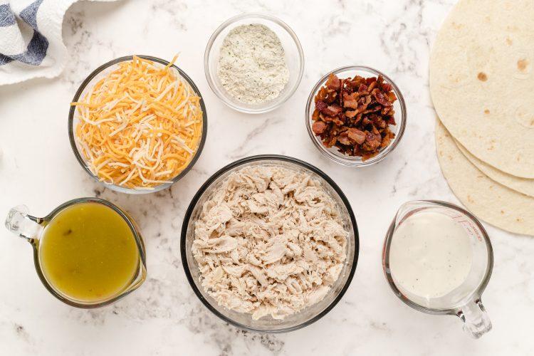Ingredients in Chicken Bacon Ranch Enchiladas