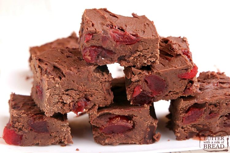 Easy chocolate fudge recipe with cherries
