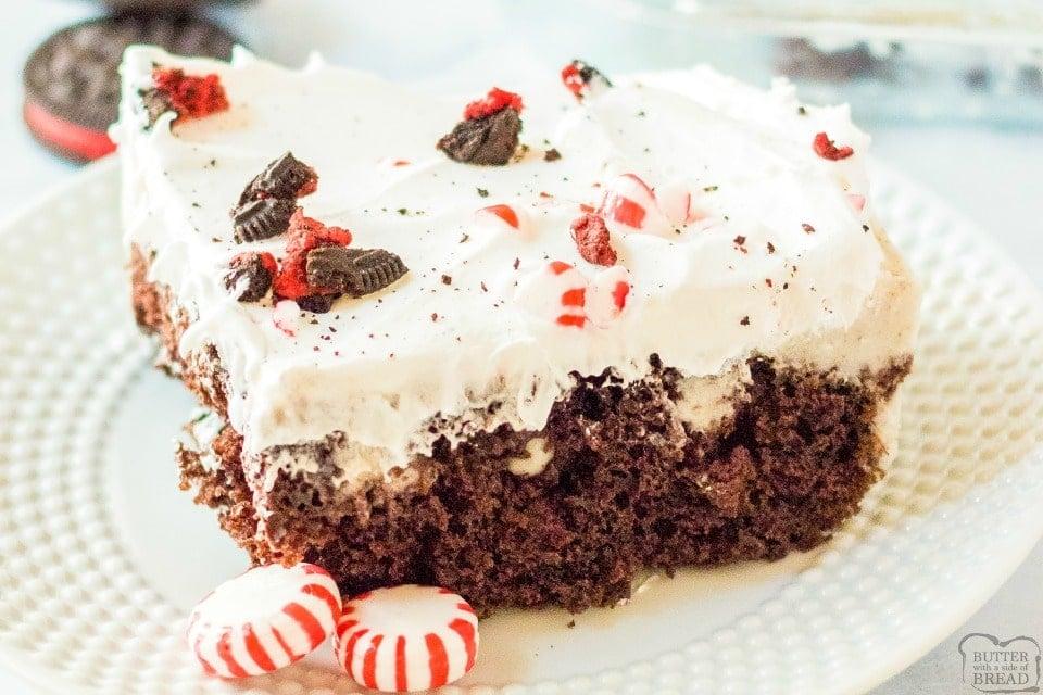 Peppermint Oreo Poke Cake