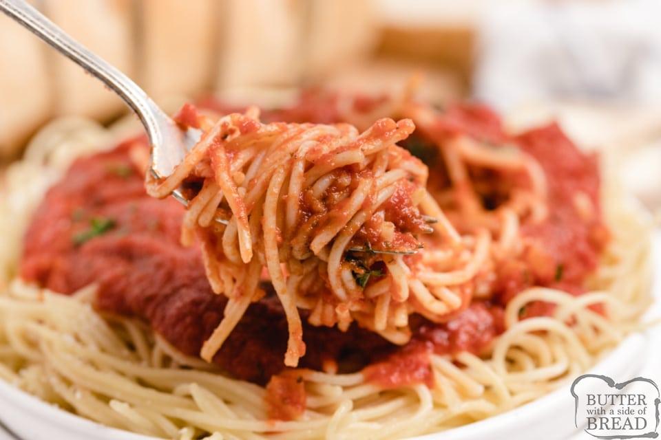 Pasta with homemade spaghetti sauce