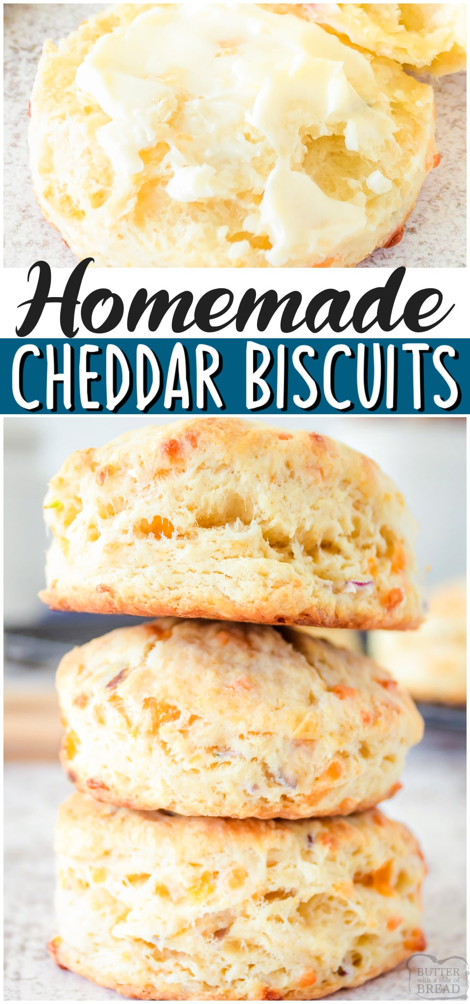 Buttery Biscuits made with butter & cheddar cheese, flavored with onion & baked to golden perfection! Soft, fluffy Cheddar Biscuit recipe perfect with just about any dinner!#biscuits #cheddar #homemade #baking #bread #easyrecipe from BUTTER WITH A SIDE OF BREAD