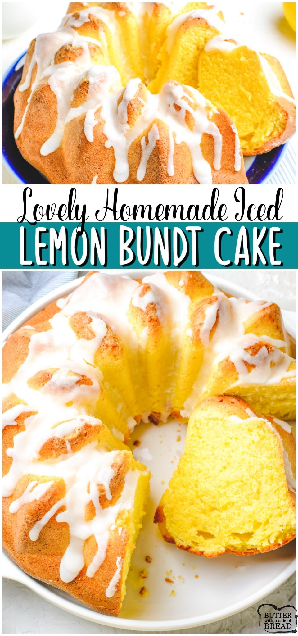 Iced lemon bundt cake made with classic ingredients with bright, fresh lemon flavor! Vanilla cake recipe with lemon juice and lemon zest for a delicious Springtime dessert. #cake #lemon #bundt #homemade #cakerecipe #baking #easyrecipe from BUTTER WITH A SIDE OF BREAD