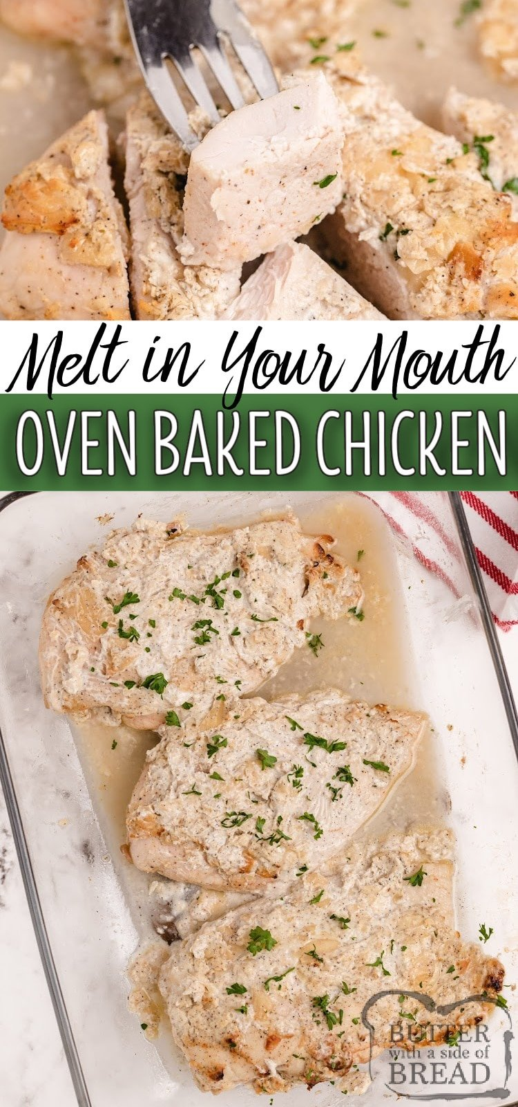 Oven Baked Chicken Breasts coated in Greek yogurt, Parmesan cheese and seasonings for a delicious baked chicken breast recipethat everyone loves! This chicken is juicy, flavorful, healthy and high in protein.