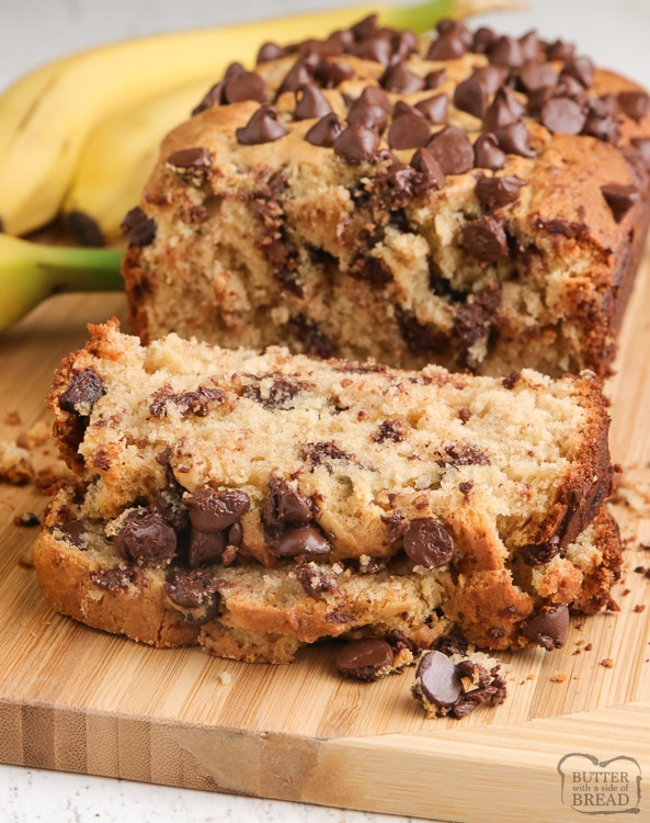 Bread made with ripe bananas and peanut butter