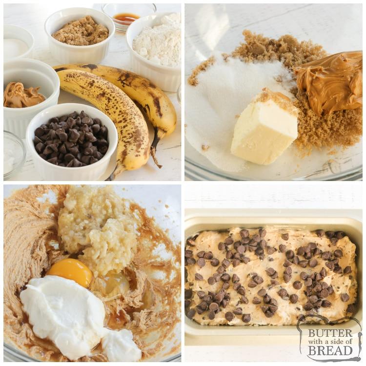 How to make peanut butter banana bread