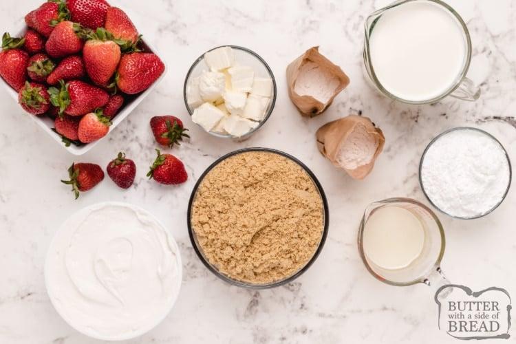 Ingredients in no bake strawberry cheesecake dessert recipe