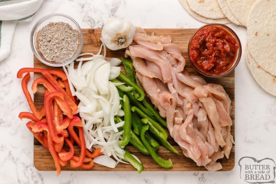 Ingredients in easy chicken fajitas