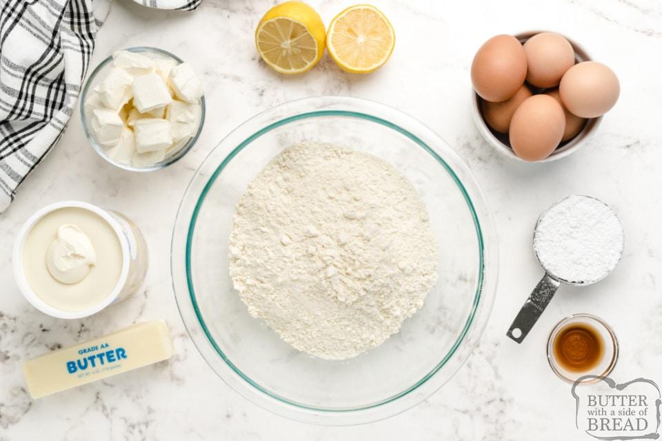 Ingredients in Lemon Cream Cheese Bars