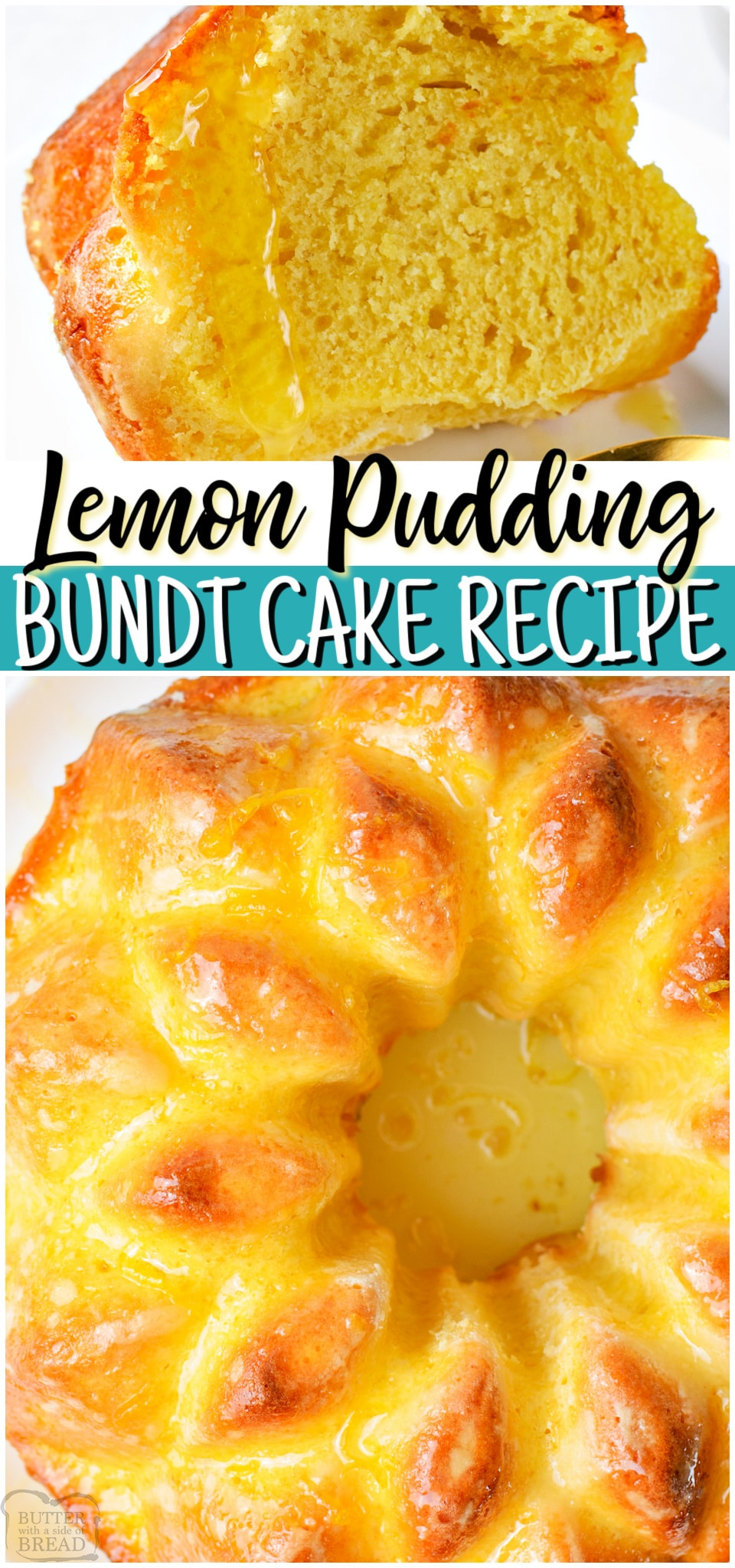Lemon Pudding Bundt Cake ~ starts with a boxed cake mix & the final results are STUNNING! Delicious lemon bundt cake recipe that's simple to make & everyone enjoys! #lemon #cake #bundtcake #pudding #baking #dessert #easyrecipe from BUTTER WITH A SIDE OF BREAD