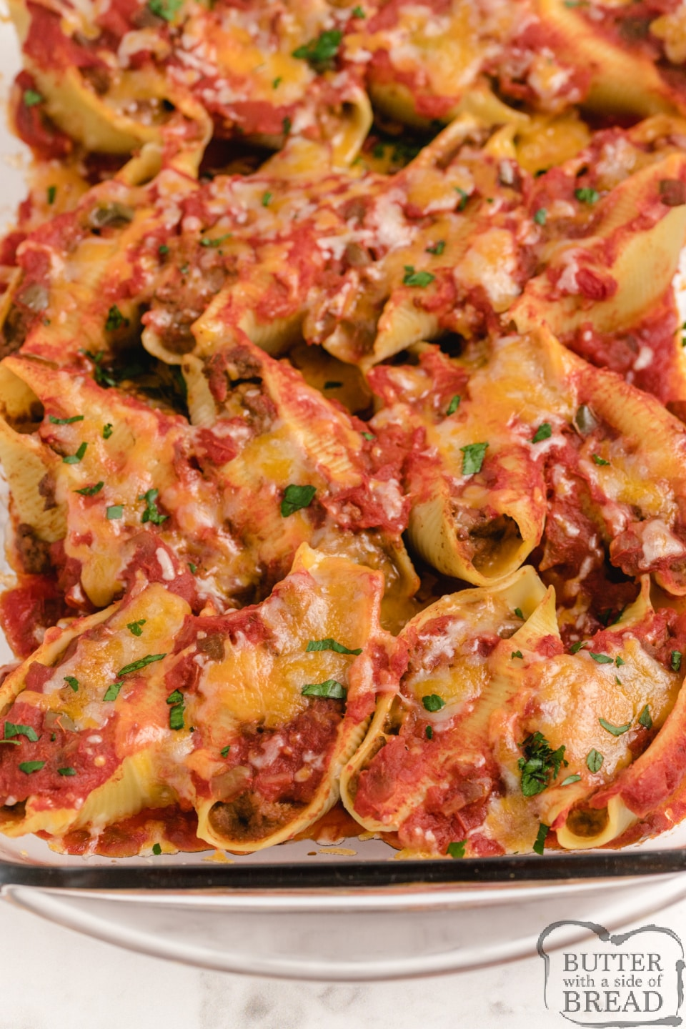 Easy Mexican dinner made with jumbo pasta shells