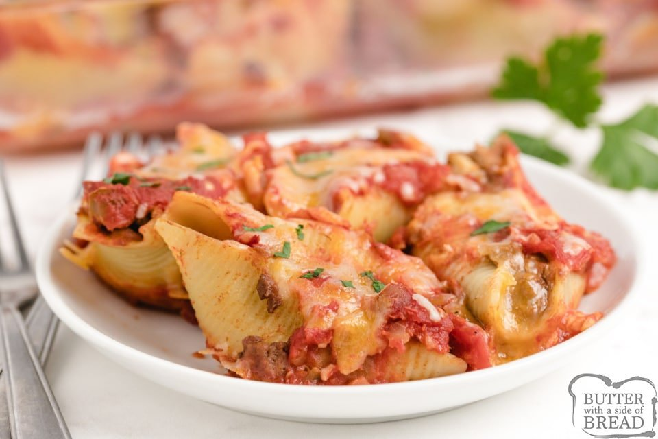 Pasta shells stuffed with taco meat and refried beans