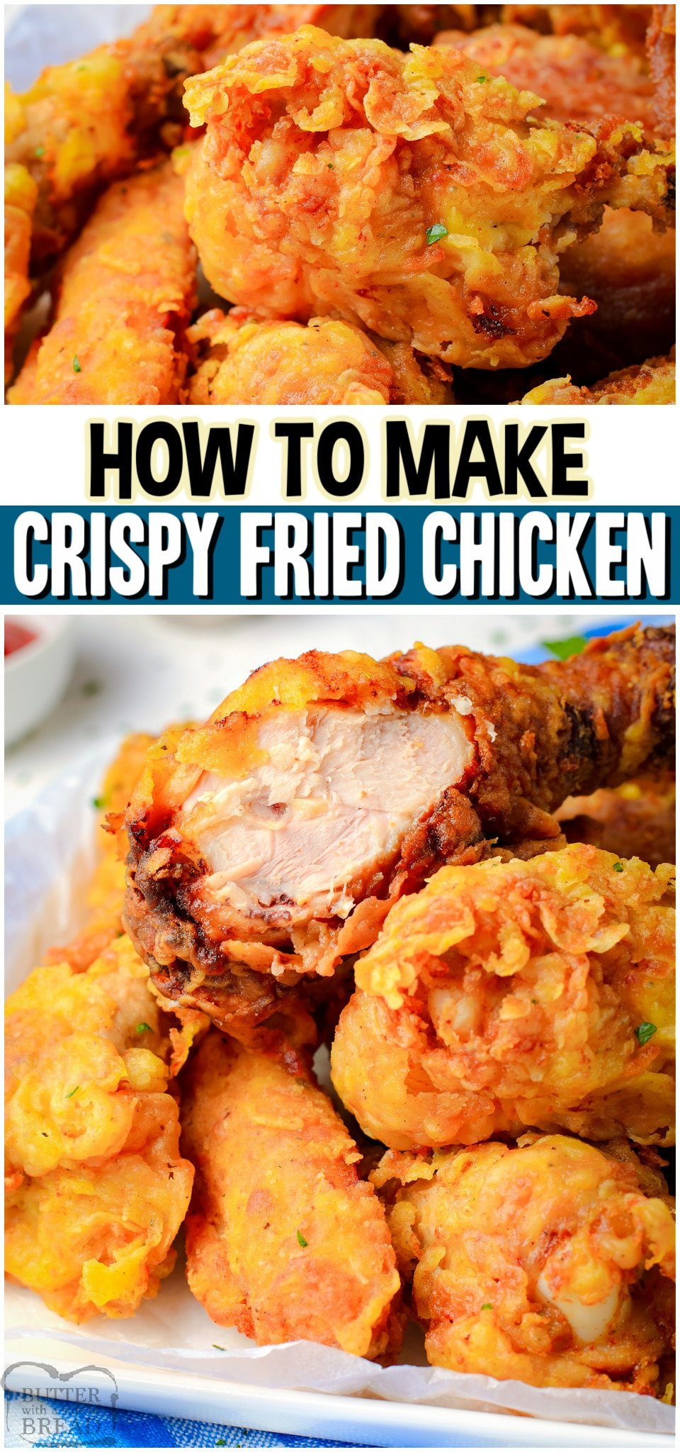 Fried Chicken Recipe made without buttermilk! Our Crispy Fried Chicken has a quick marinade & a double coat of batter for an extra crispy texture! #chicken #fried #crispychicken #homemade #dinner #easyrecipe from BUTTER WITH A SIDE OF BREAD