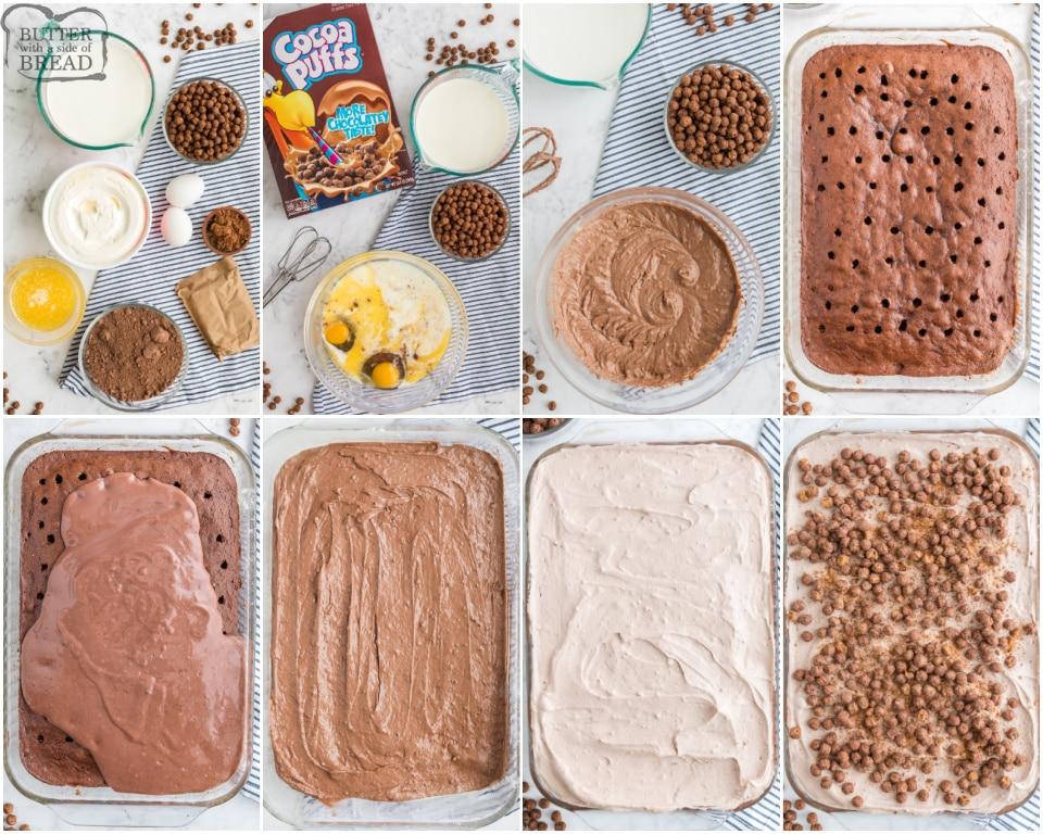 How to make cocoa Puffs chocolate pudding poke cake