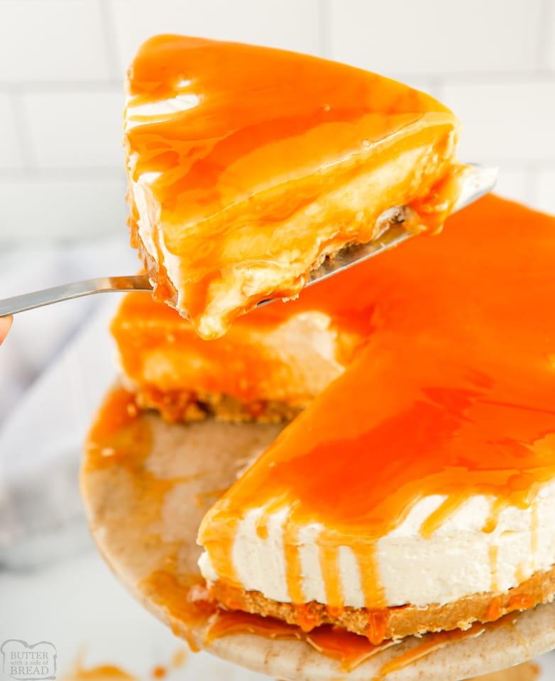 Homemade No-Bake Caramel Cheesecake recipe
