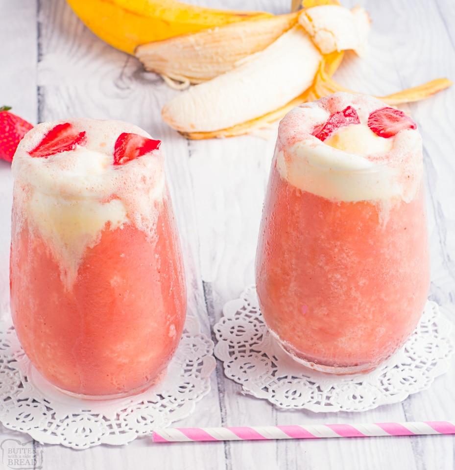 Strawberry Banana Ice Cream Float drinks
