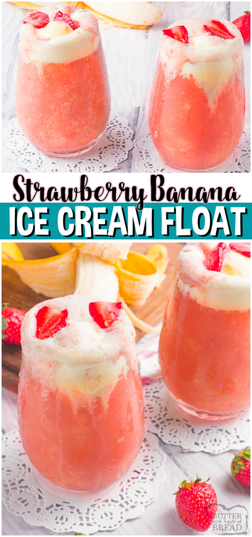 Simple & delicious strawberry banana ice cream float that's part smoothie, part slurpee and ALL amazing! Fresh strawberries and bananas blended, then topped with soda & ice cream. This Strawberry Banana Ice Cream Float is a fun treat everyone enjoys! #slurpee #icecream #strawberries #banana #dessert #icecreamfloat #easyrecipe from BUTTER WITH A SIDE OF BREAD