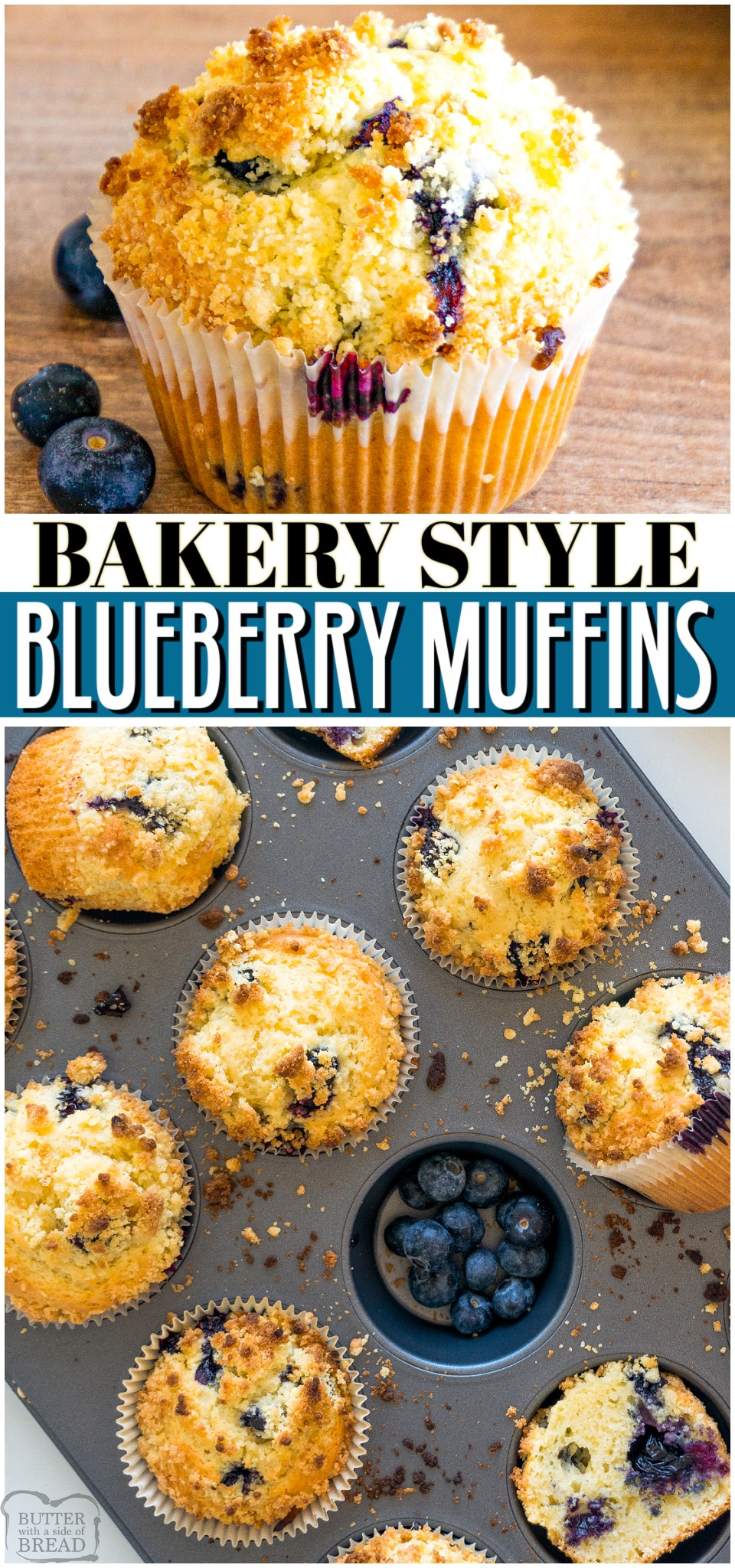 Blueberry Muffins with Crumb topping made better at home than at the bakery! Soft & flavorful blueberry muffins perfectly baked with a buttery crumble on top. #muffins #blueberry #bread #breakfast #easyrecipe from BUTTER WITH A SIDE OF BREAD