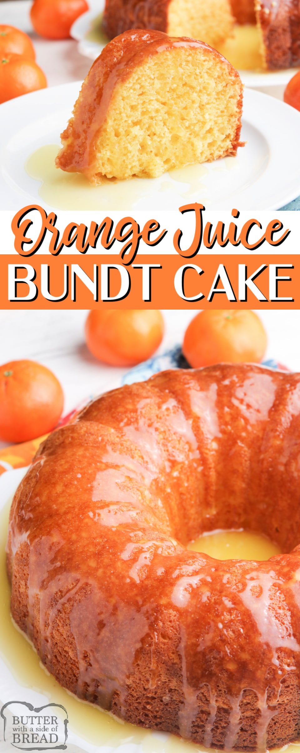 Orange Juice Bundt Cake made with a cake mix, orange juice and a few other basic ingredients. Topped with a buttery orange glaze, this delicious orange juice cake recipe is absolutely decadent!