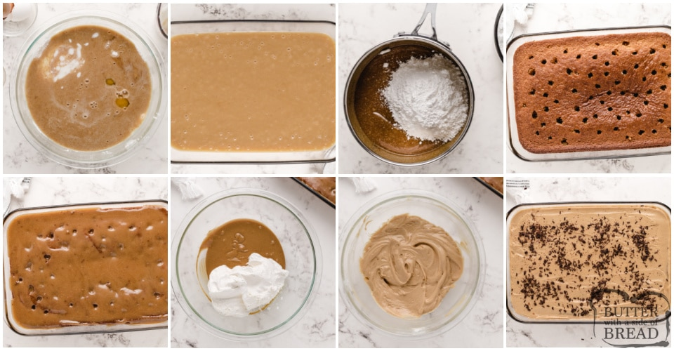 Step by step instructions on how to make Peanut Butter Poke Cake