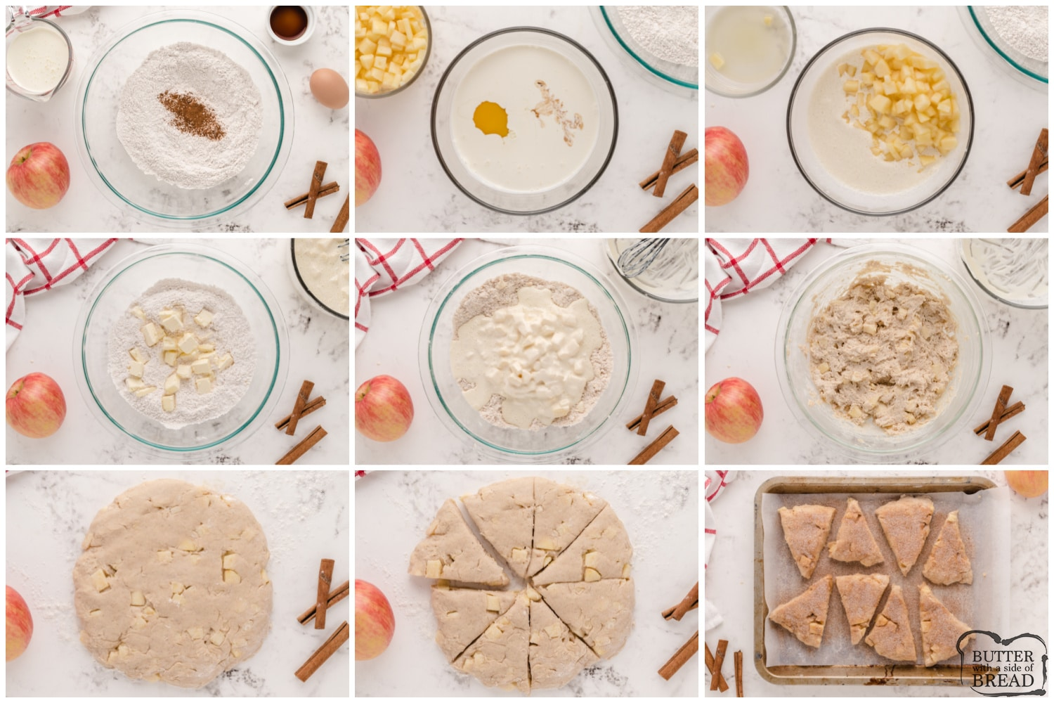 Step by step instructions on how to make Apple Cinnamon Scones